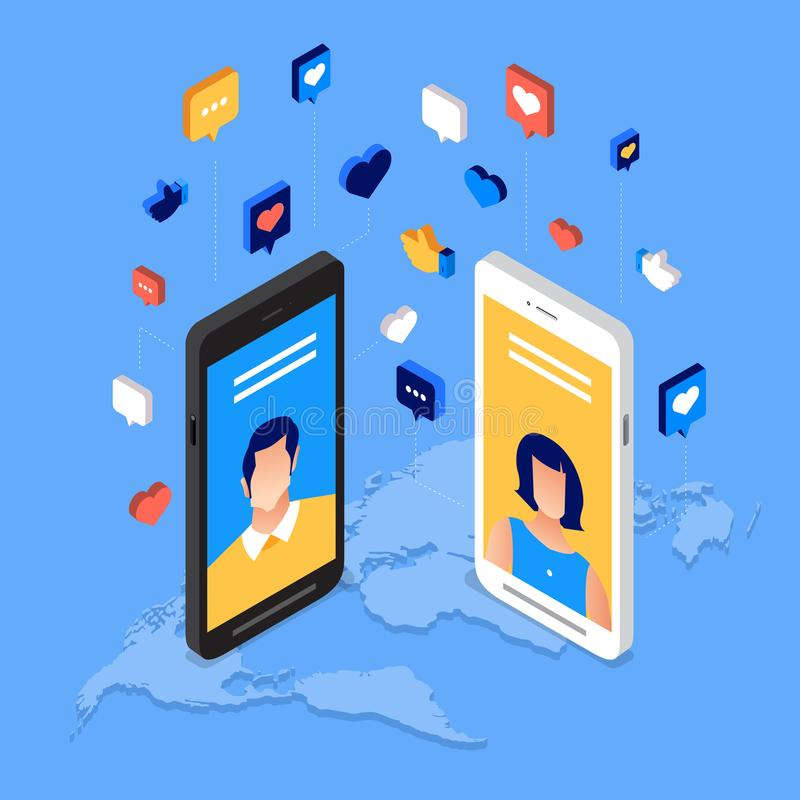 Jour social de media illustration stock