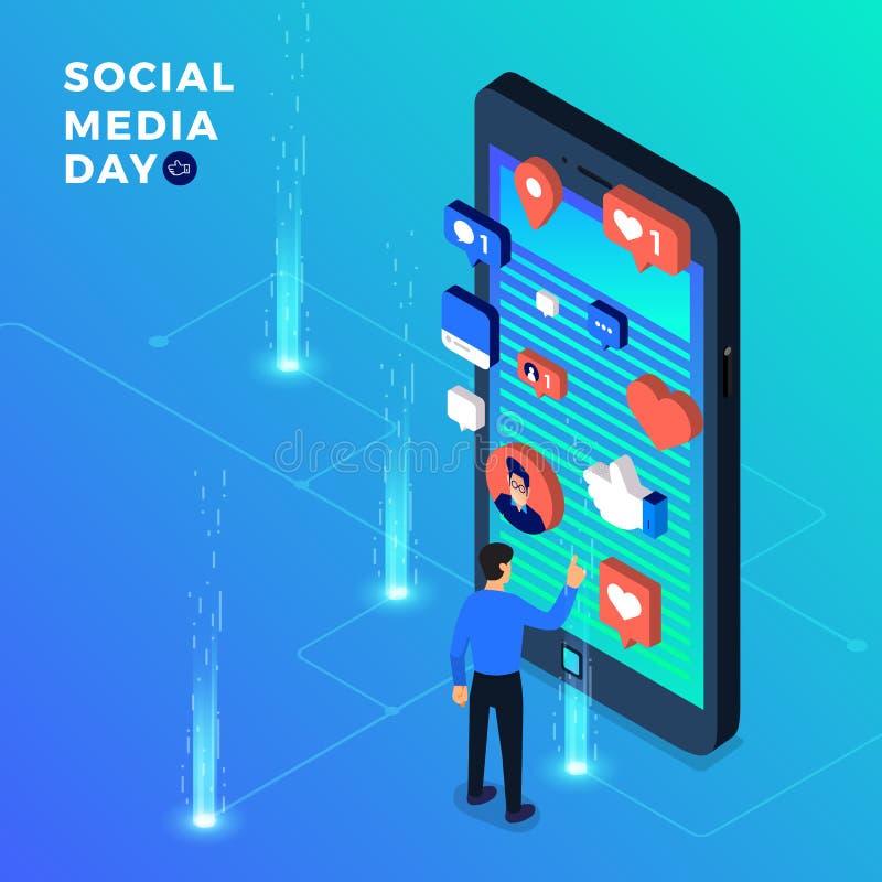 Jour social de media illustration de vecteur