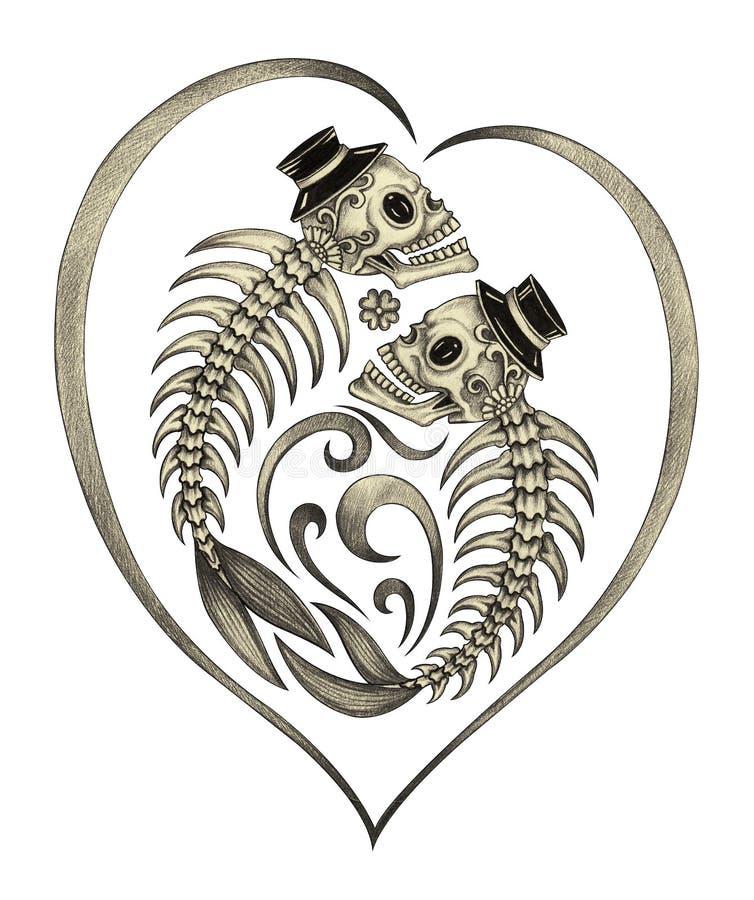 Jour surréaliste d'os de poissons de crâne d'art des morts illustration de vecteur