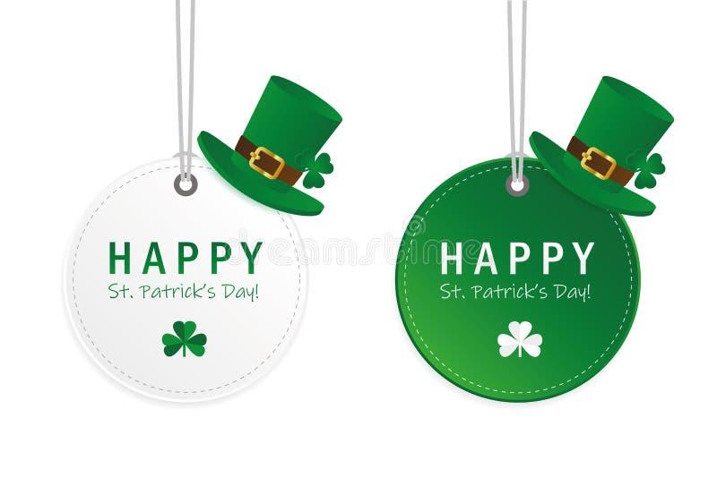 Jour vert et blanc de St Patricks accrochant le label rond avec le chapeau et le trèfle illustration de vecteur