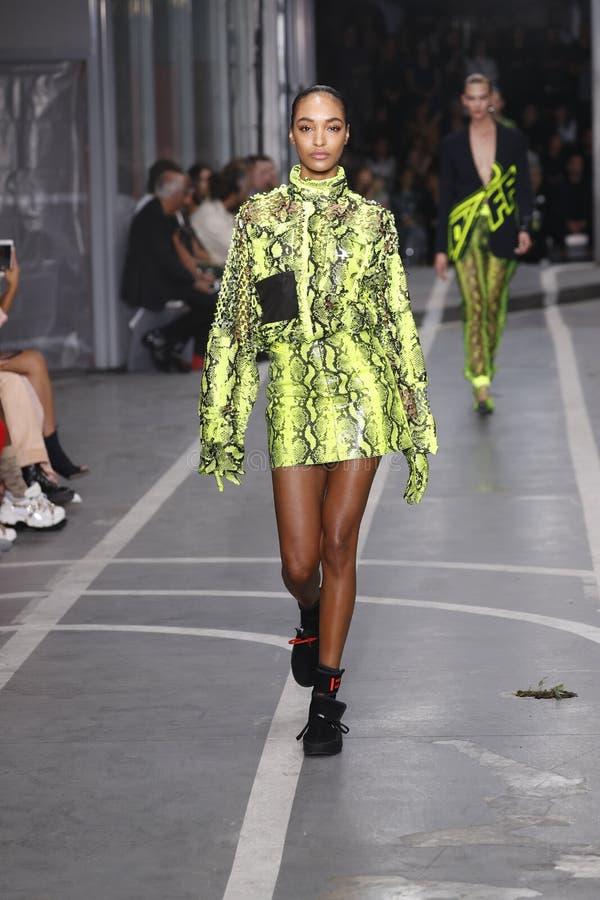 Jourdan Dunn marche la piste pendant l'exposition blanche cassée en tant qu'élément du ressort de Womenswear de semaine de mode d image libre de droits