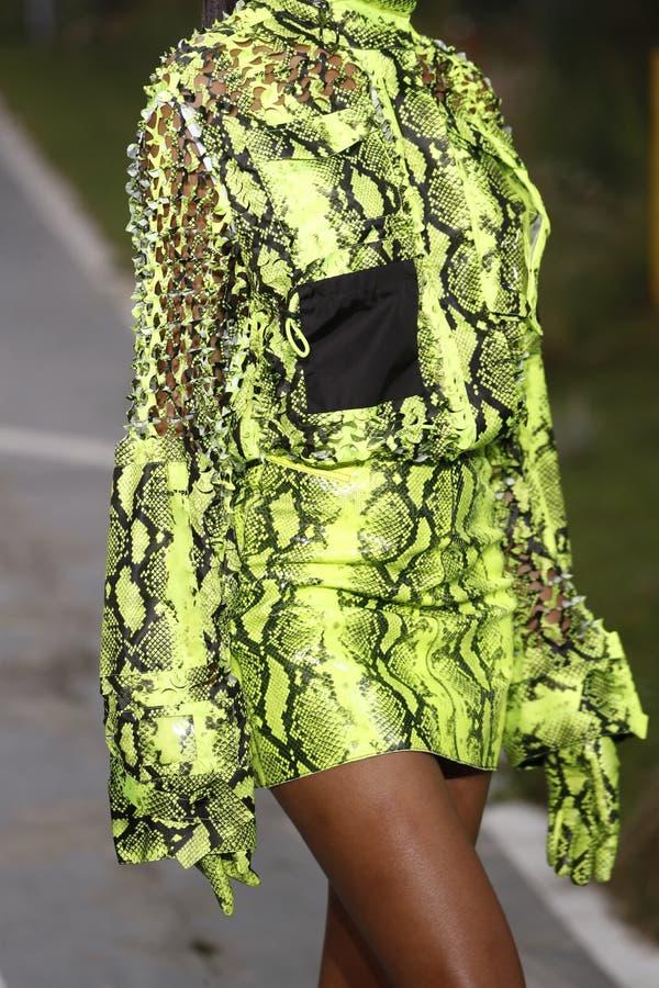 Jourdan Dunn marche la piste pendant l'exposition blanche cassée en tant qu'élément du ressort de Womenswear de semaine de mode d photographie stock