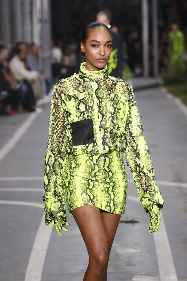 Jourdan Dunn marche la piste pendant l'exposition blanche cassée en tant qu'élément du ressort de Womenswear de semaine de mode d photos libres de droits