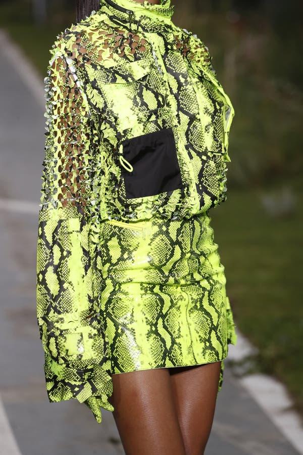 Jourdan Dunn marche la piste pendant l'exposition blanche cassée en tant qu'élément du ressort de Womenswear de semaine de mode d image stock