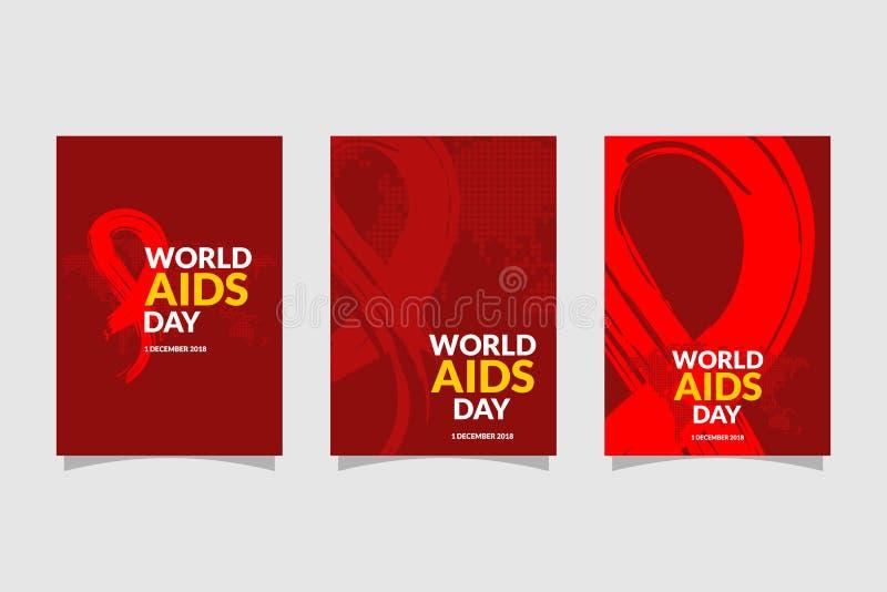 Journée mondiale contre le SIDA avec l'illustration rouge tirée par la main de vecteur d'insecte de conception de ruban Conceptio illustration libre de droits
