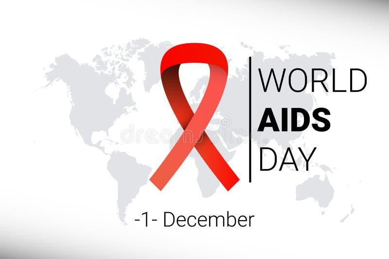 Journée mondiale contre le SIDA 1er décembre conscience rouge de ruban d'HIV Vecteur illustration libre de droits
