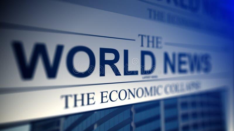 Journal avec des titres de nouvelles du monde illustration stock