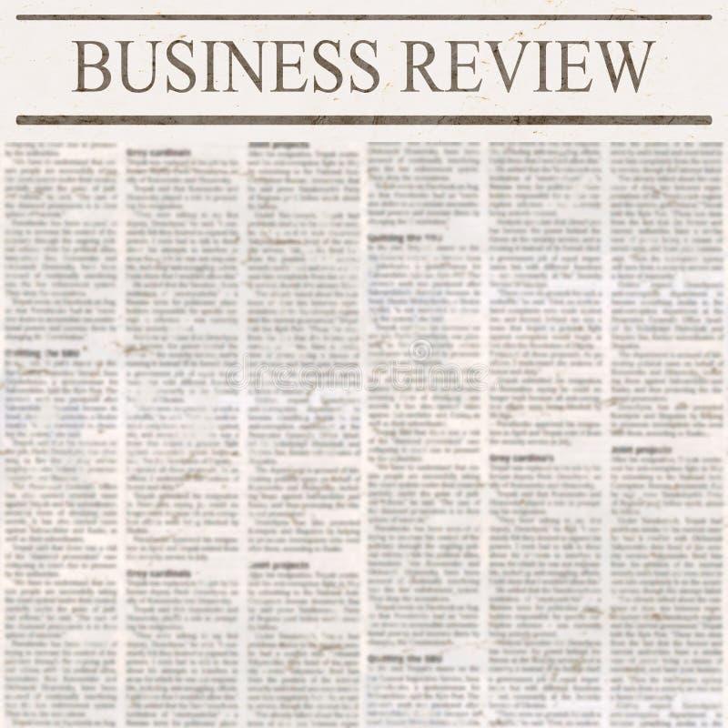 Journal avec le titre Business Review et le vieux texte illisible de nouvelles illustration de vecteur