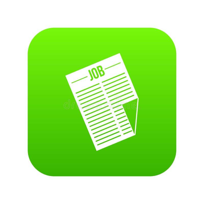 Journal avec le vert numérique d'icône du travail de titre illustration de vecteur