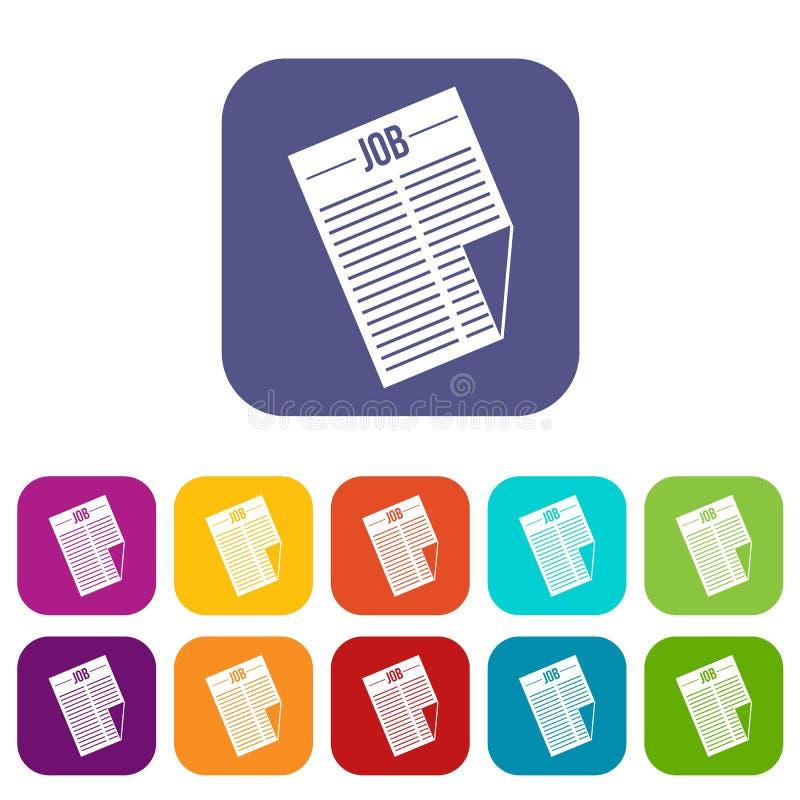 Journal avec les icônes du travail de titre réglées illustration libre de droits