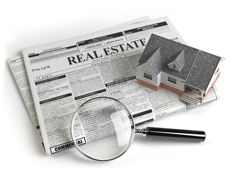Journal d'annonces de classifieds d'immobiliers avec la maison et l'agrandissement illustration libre de droits