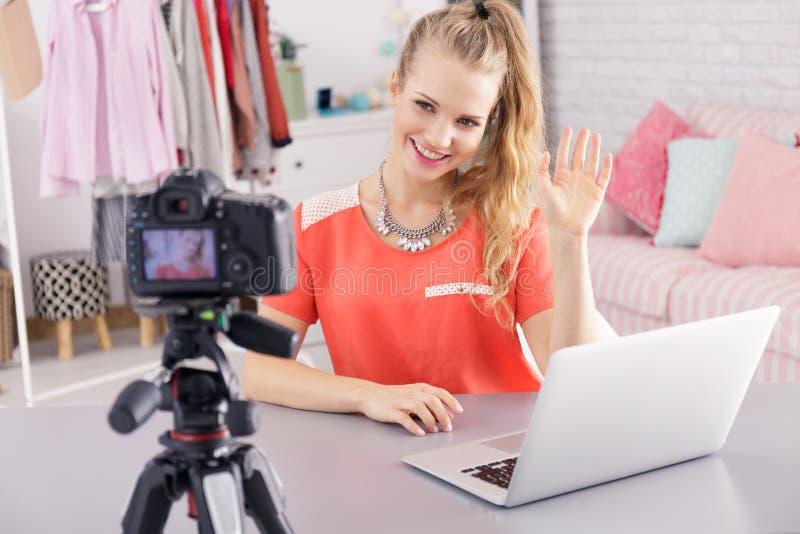 Journal d'enregistrement de Vlogger image stock