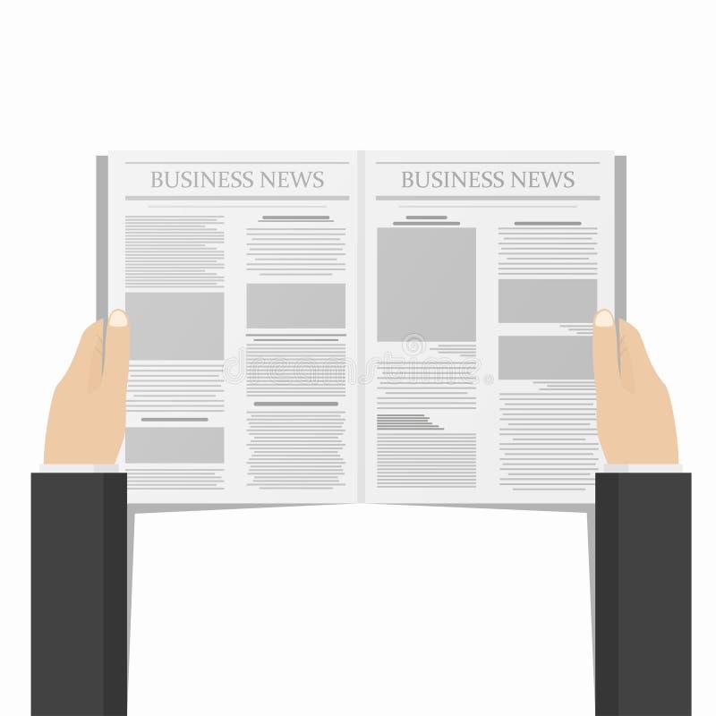 Journal dans des mains d'homme d'affaires Concept quotidien d'informations commerciales Vue de ci-avant illustration libre de droits