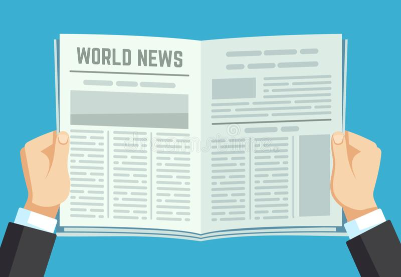 Journal dans des mains Homme d'affaires tenant la gazette financière Actualités de lecture d'homme en magazine illustration libre de droits
