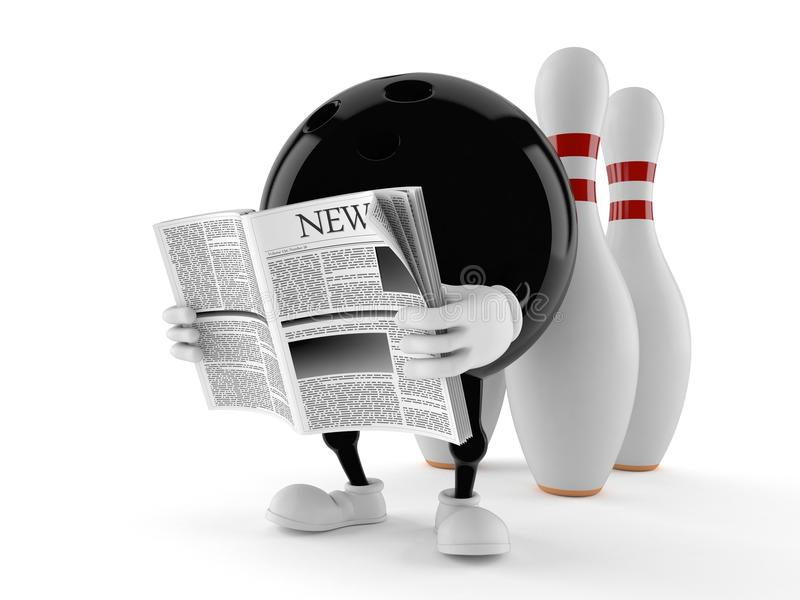 Journal de lecture de caractère de bowling illustration stock
