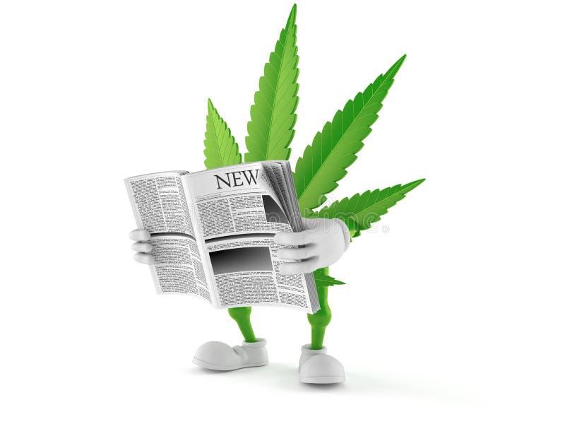 Journal de lecture de caractère de cannabis illustration de vecteur