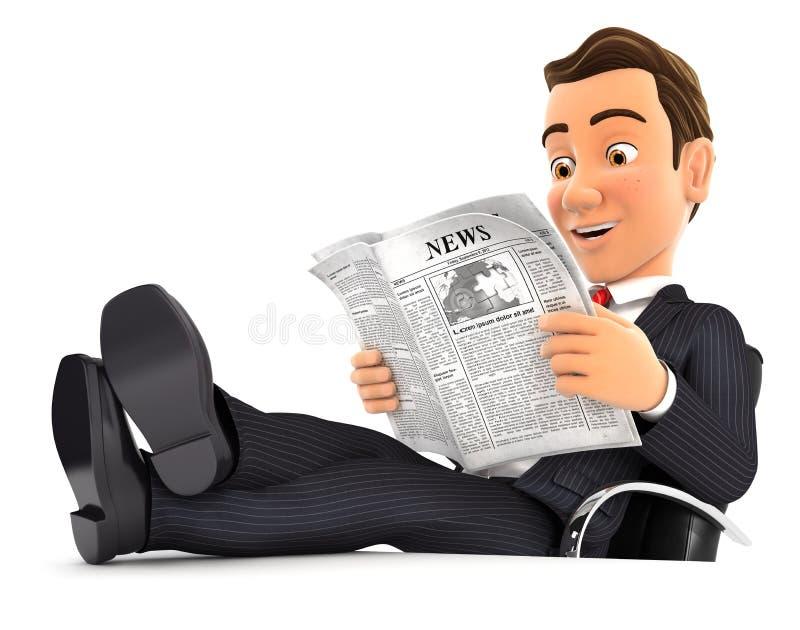 journal de lecture de l'homme d'affaires 3d avec des pieds sur le bureau illustration de vecteur