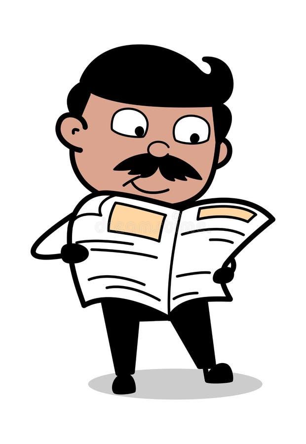Journal de lecture - père indien Vector Illustration d'homme de bande dessinée illustration de vecteur
