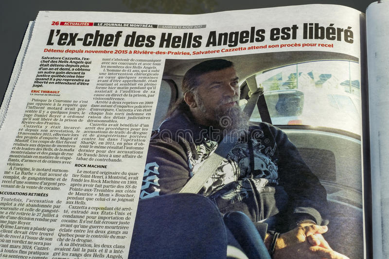 Journal de Montreal Newspaper. Article the Hells Angels. Le Journal de Montréal is a tabloid morning newspaper in Quebec published in Montreal by Sun Media royalty free stock photography
