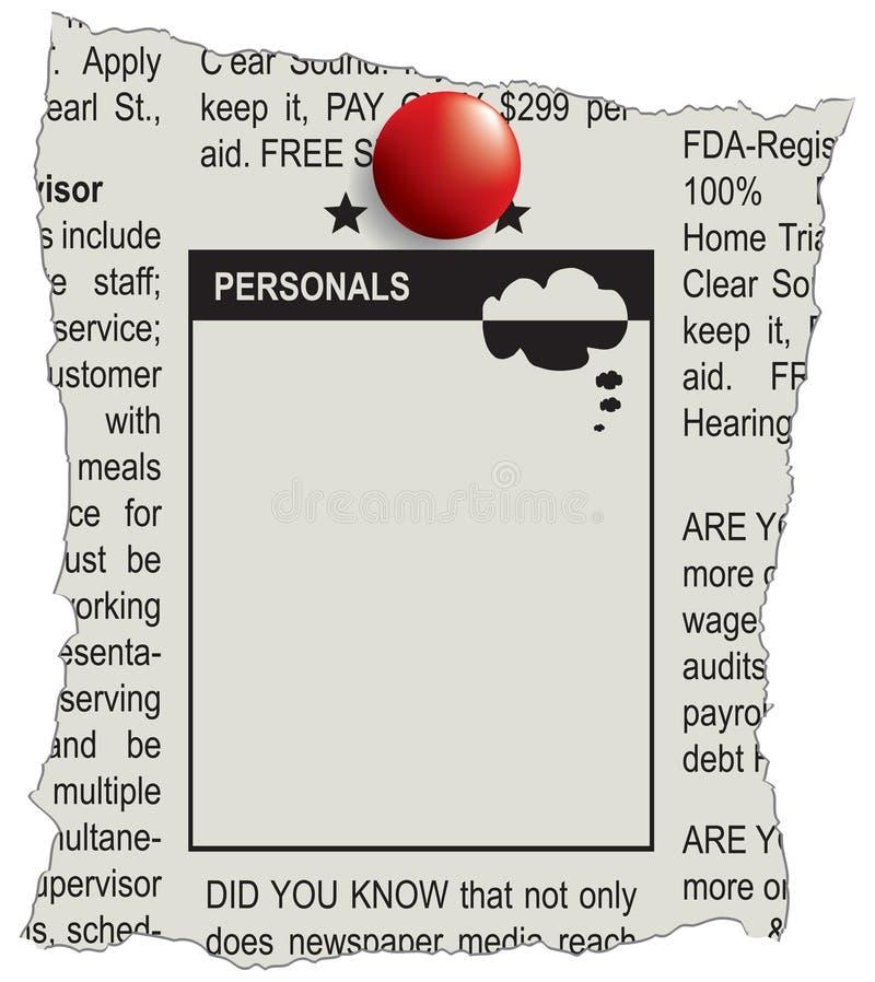 Journal de personnels de Classifieds illustration libre de droits