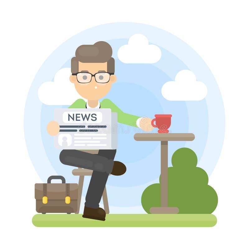 Journal et café illustration de vecteur