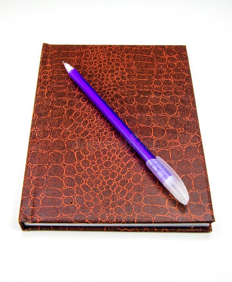 Journal et stylo en cuir images libres de droits