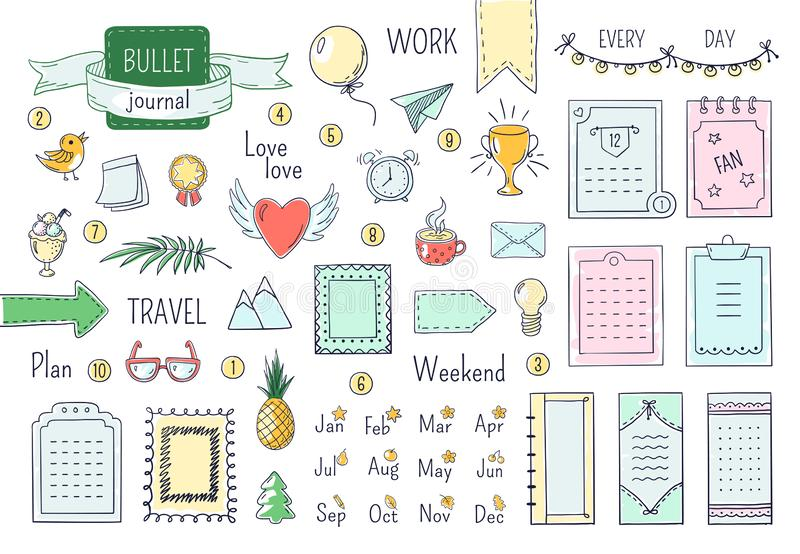 Journal hand drawn elements. Doodle bullets, color notebook schedule calendar diary line scribble elements. Vector vector illustration