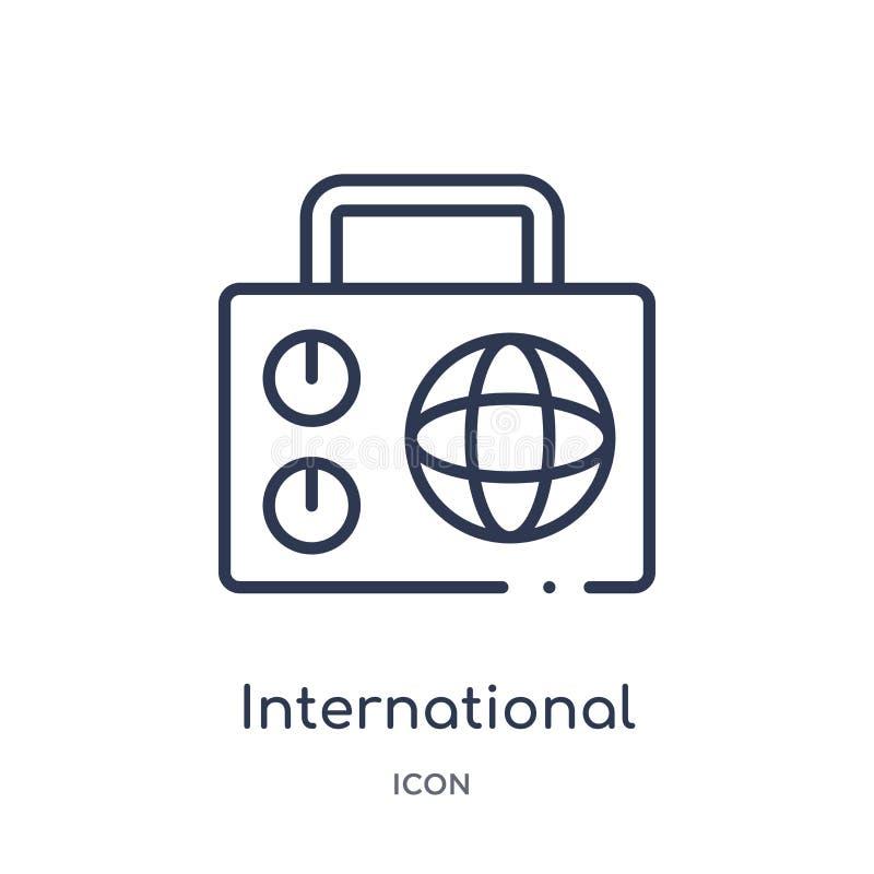journal international par l'icône par radio de la collection d'ensemble d'outils et d'ustensiles Ligne mince journal internationa illustration libre de droits