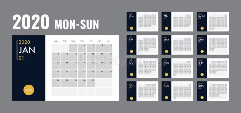 Journal intime 2020 de vecteur de planificateur de calibre de calendrier dans un style minimaliste illustration stock