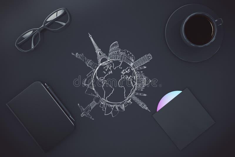 Journal intime noir, lunettes, tasse de café, disque CD et voyage dessiné illustration libre de droits