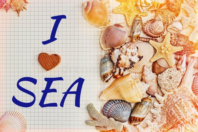 Journal intime ouvert avec un tagline couvert par des coquilles de mer images stock