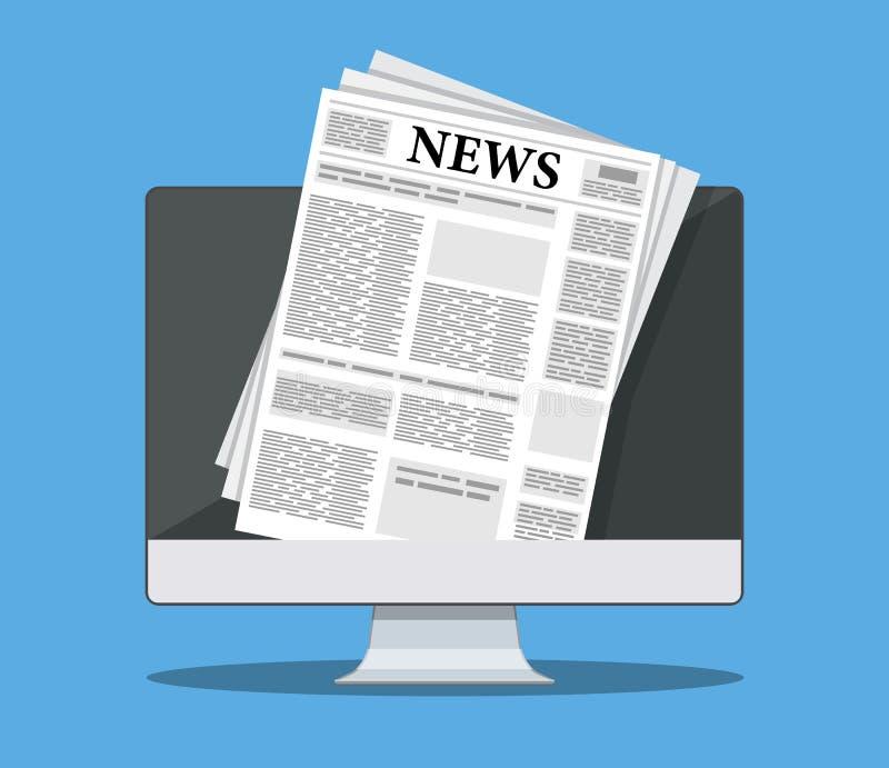 Journal sur l'écran d'ordinateur illustration libre de droits