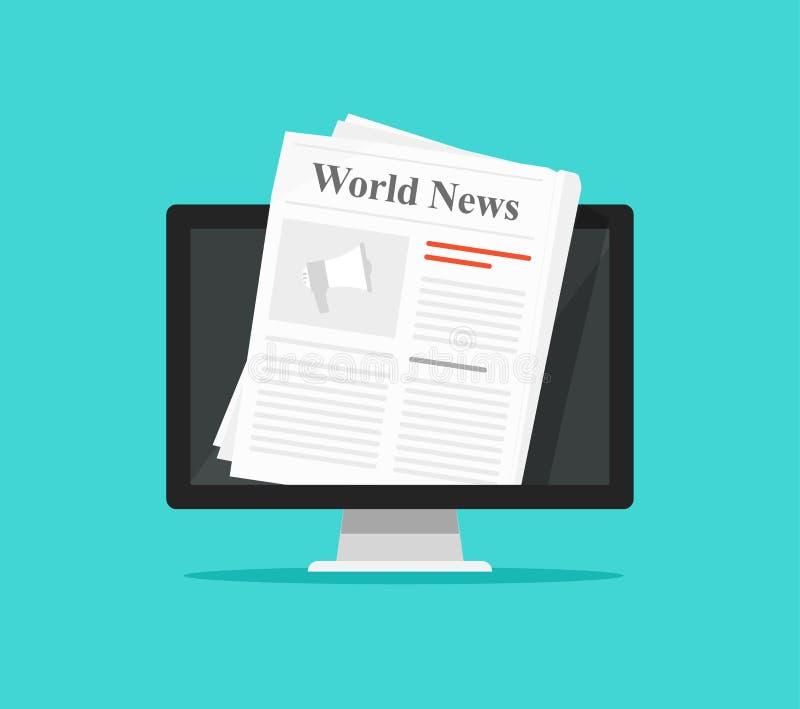Journal sur l'illustration de vecteur d'écran d'ordinateur, affichage plat de PC de bande dessinée avec le magazine de nouvelles  illustration de vecteur