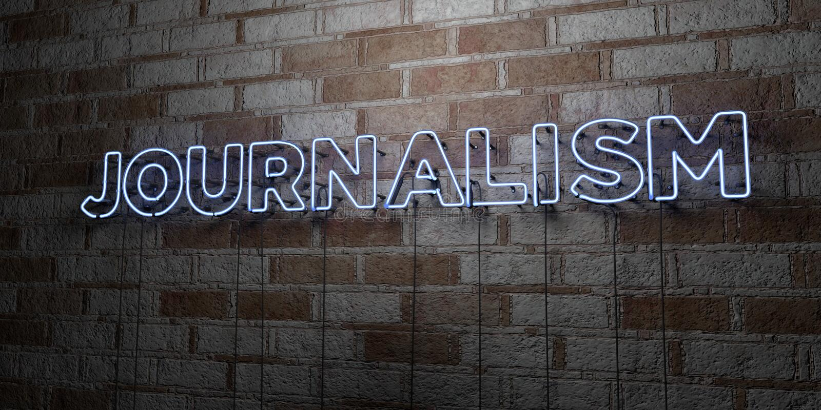 JOURNALISM - Glowing Neon Sign on stonework wall - 3D rendered royalty free stock illustration. Can be used for online banner ads and direct mailers royalty free illustration