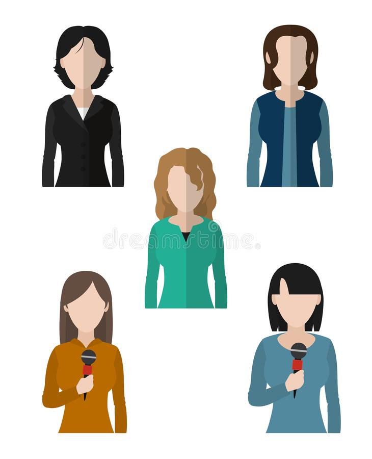 Journalism and journalist. Set of journalist womens avatars cartoons vector illustration graphic design stock illustration