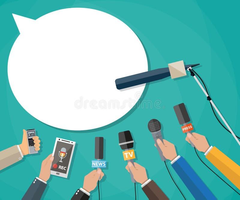 Journalism, live report, hot news stock illustration