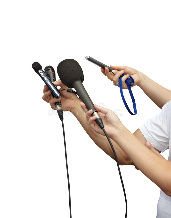 Download Journalism microphones stock image. Image of holding - 21803161