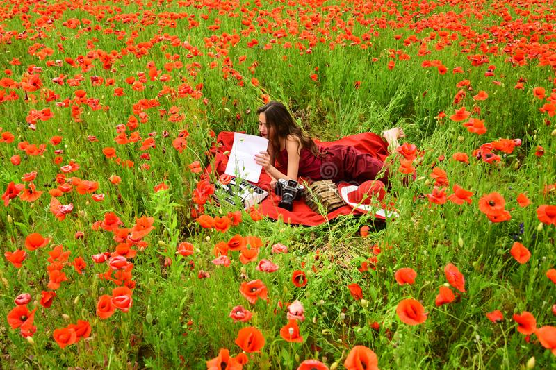 Journalism and writing, summer. Journalism, photographer, reporter writer woman in poppy field royalty free stock images