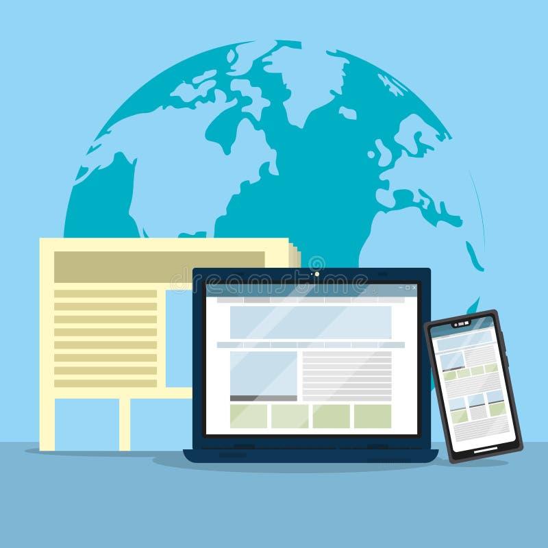 Journalismus auf der ganzen Welt vektor abbildung