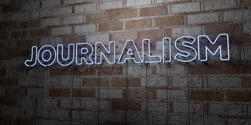 JOURNALISMUS - Glühende Leuchtreklame auf Steinmetzarbeitwand - 3D übertrug freie Illustration der Abgabe auf Lager lizenzfreie abbildung