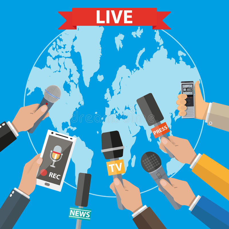 Journalismus, Livebericht, aktuelle Nachrichten vektor abbildung