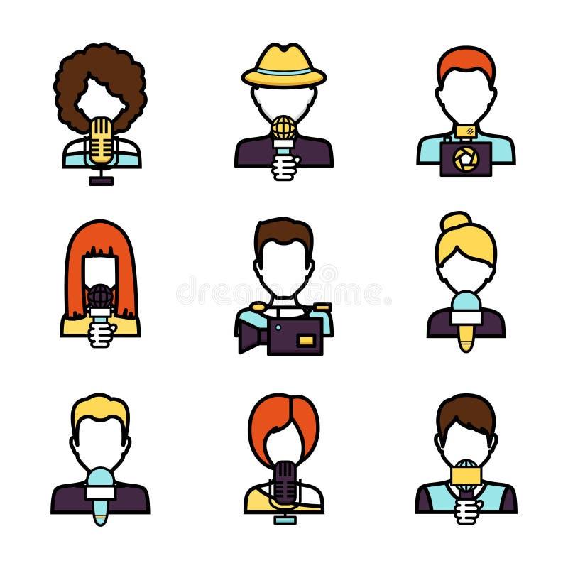Journalist Avatar Set. Journalist avatar mass media news reporter characters set isolated vector illustration stock illustration