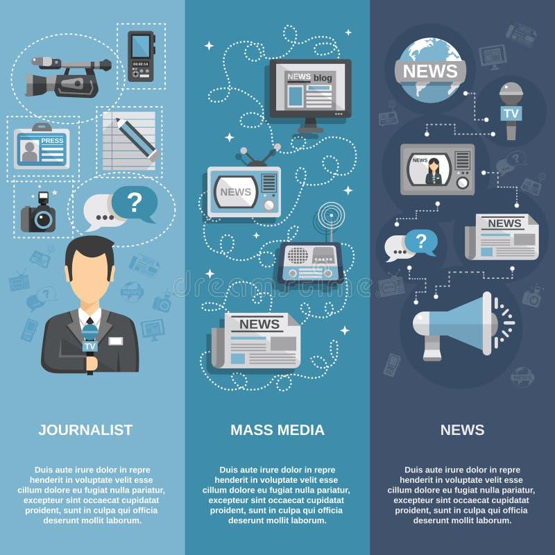 Journalist Banner Set. Journalist flat banner set vertical with mass media and news elements vector illustration stock illustration
