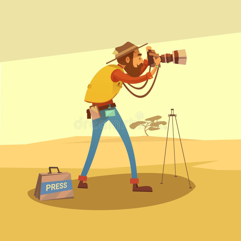 Journalist Cartoon Illustration royalty free illustration