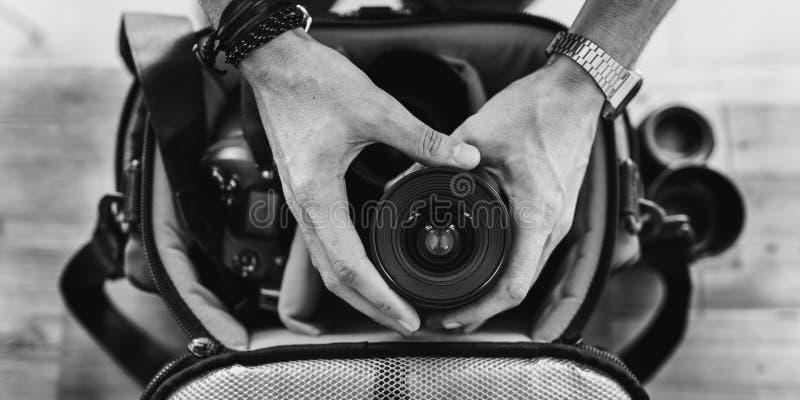 Journalist Concept för fotografCamera DSLR skytte fotografering för bildbyråer