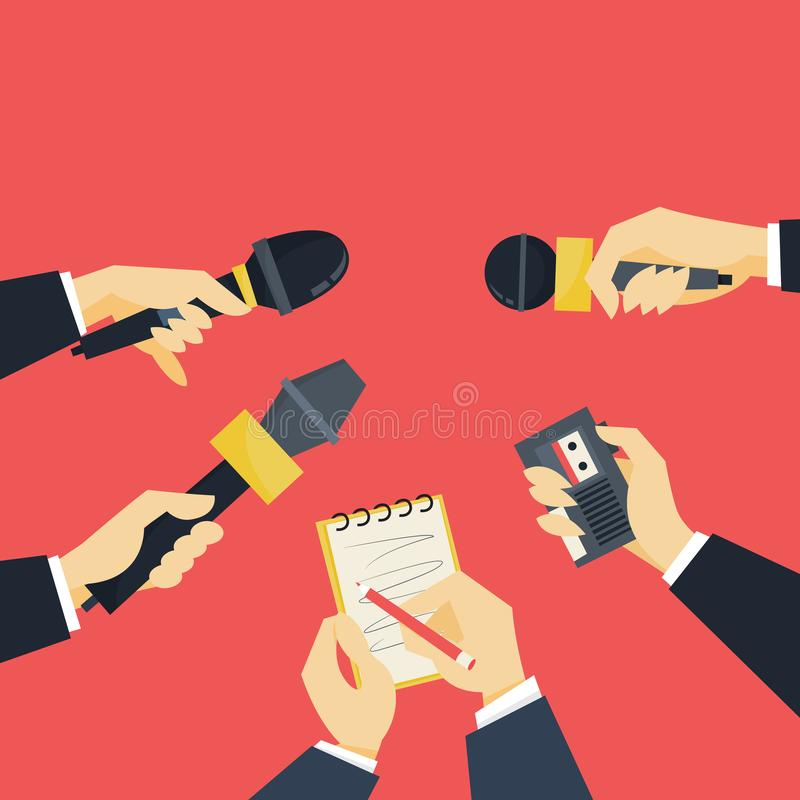 Journalist concept. Hand holding microphone. Reporter take interview. For mass media. Press conference. Isolated flat vector illustration royalty free illustration
