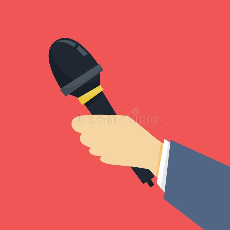 Journalist concept. Hand holding microphone. Reporter take interview. For mass media. Press conference. Isolated flat vector illustration vector illustration
