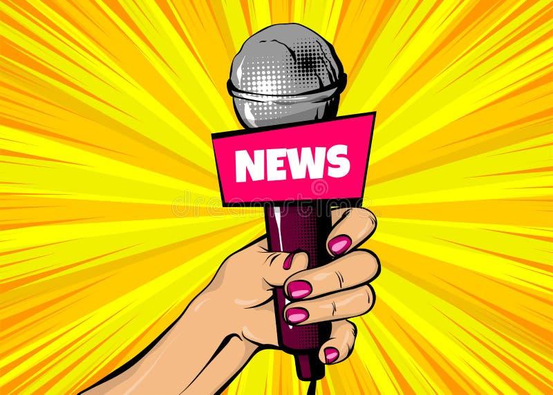 Journalist för mikrofon för håll för hand för kvinnapopkonst royaltyfri illustrationer