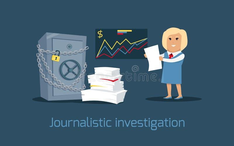 Journalist- illustration för utredningbegreppsvektor vektor illustrationer