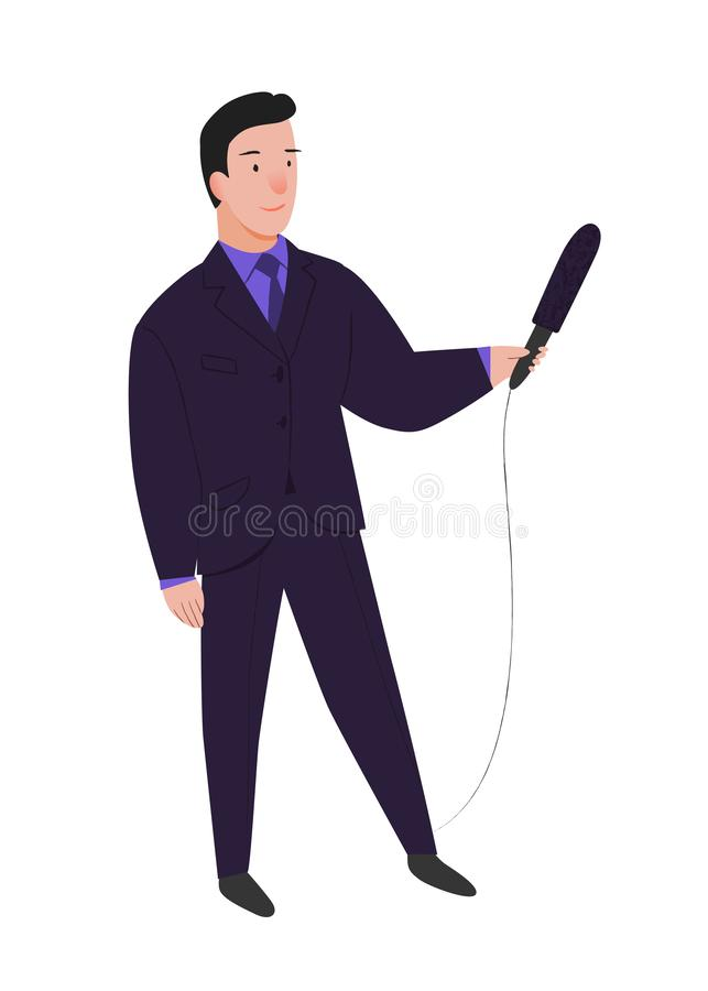 Journalist. Man the reporter with microphone in hands interviews. Man in standing pose in suit. People vector illustration. vector illustration